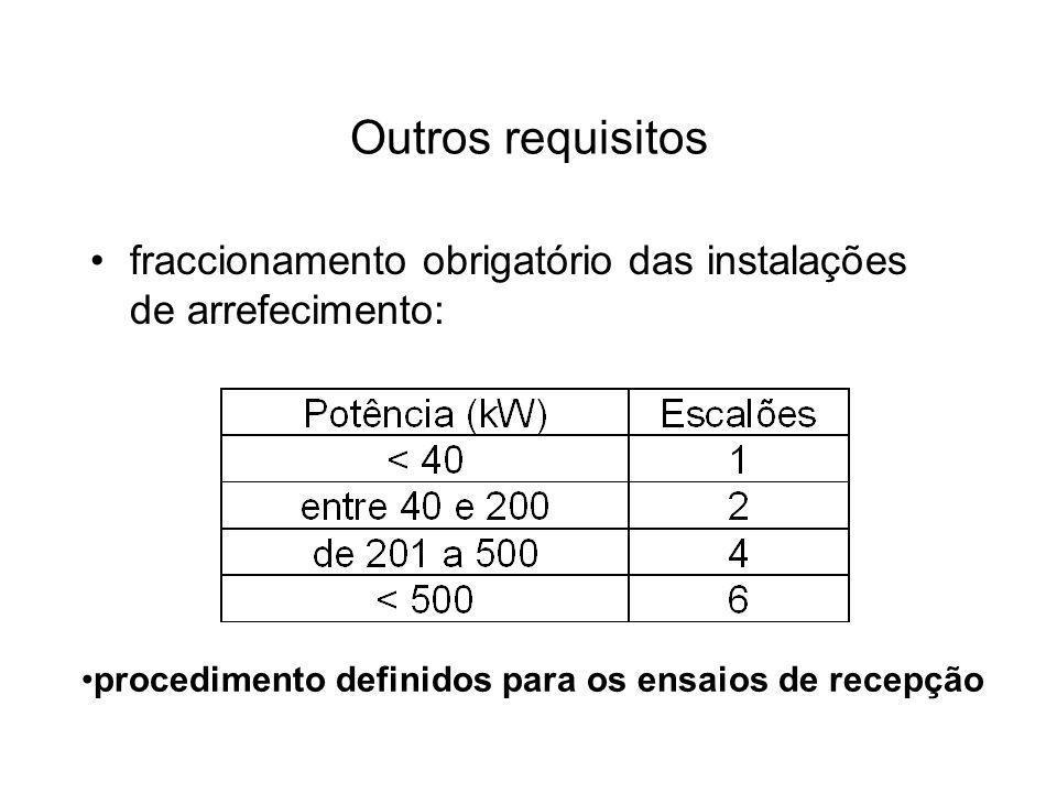 Outros requisitos fraccionamento obrigatório das instalações de arrefecimento: procedimento definidos para os ensaios de recepção.