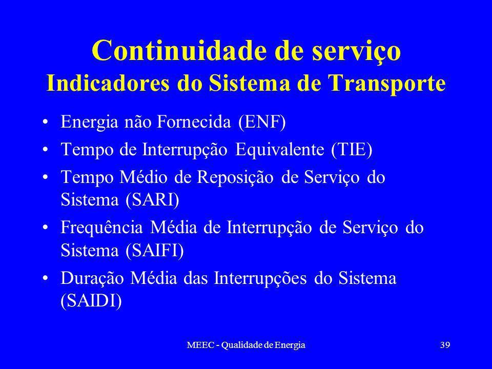 Continuidade de serviço Indicadores do Sistema de Transporte