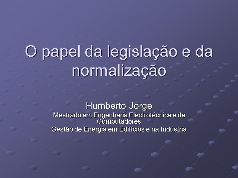 O papel da legislação e da normalização