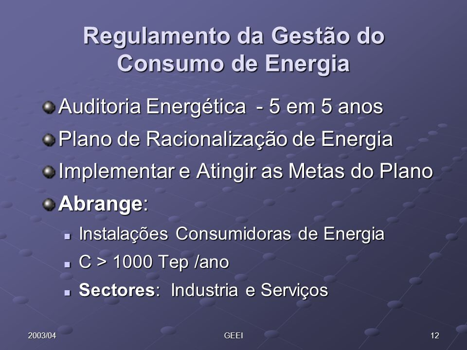 Regulamento da Gestão do Consumo de Energia