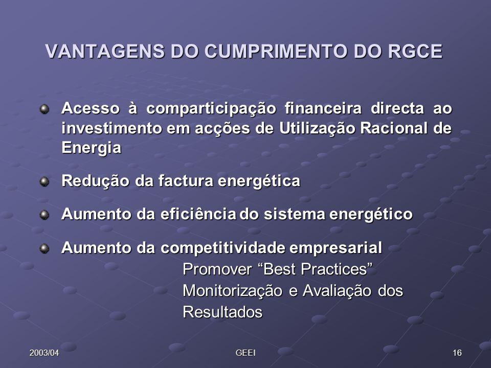 VANTAGENS DO CUMPRIMENTO DO RGCE