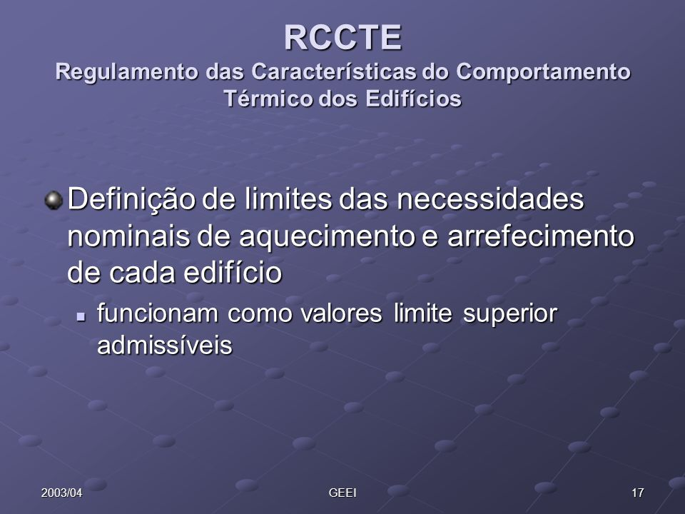 RCCTE Regulamento das Características do Comportamento Térmico dos Edifícios