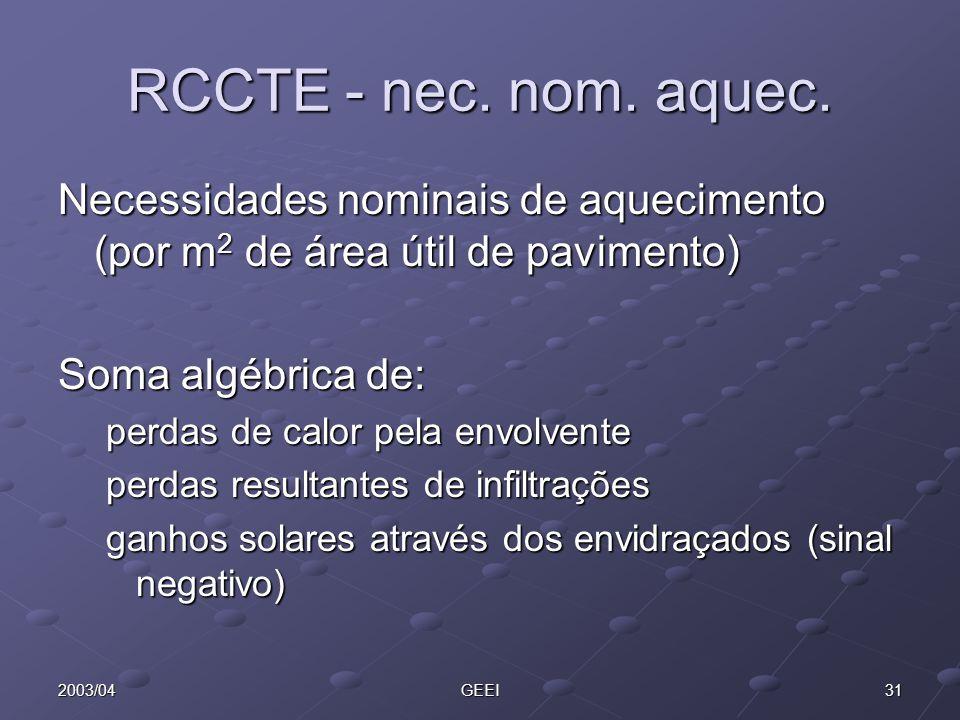 RCCTE - nec. nom. aquec. Necessidades nominais de aquecimento (por m2 de área útil de pavimento) Soma algébrica de: