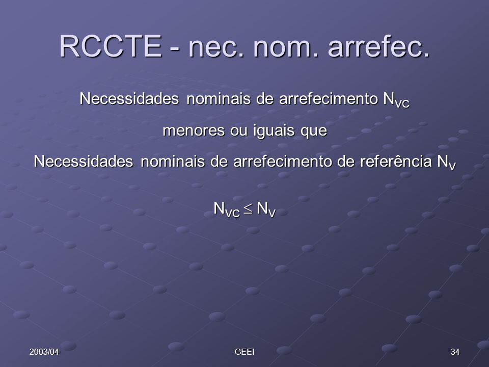 RCCTE - nec. nom. arrefec. Necessidades nominais de arrefecimento NVC