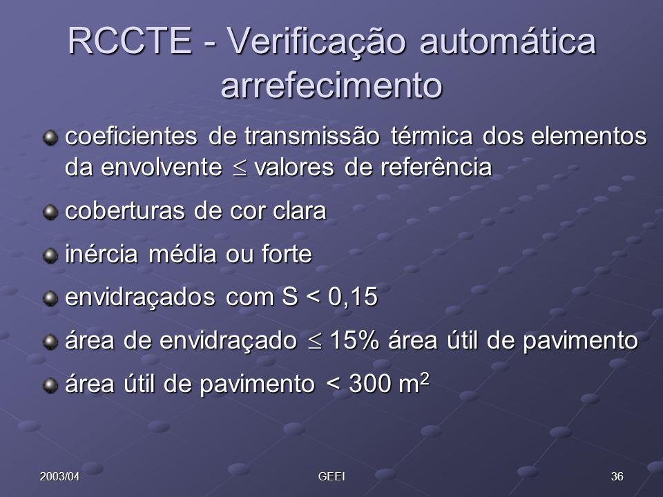 RCCTE - Verificação automática arrefecimento