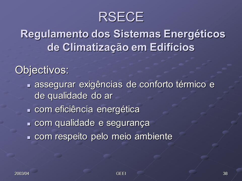 RSECE Regulamento dos Sistemas Energéticos de Climatização em Edifícios