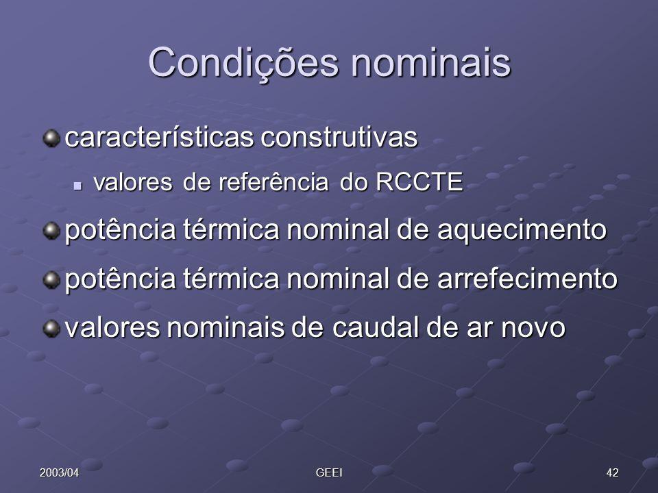 Condições nominais características construtivas