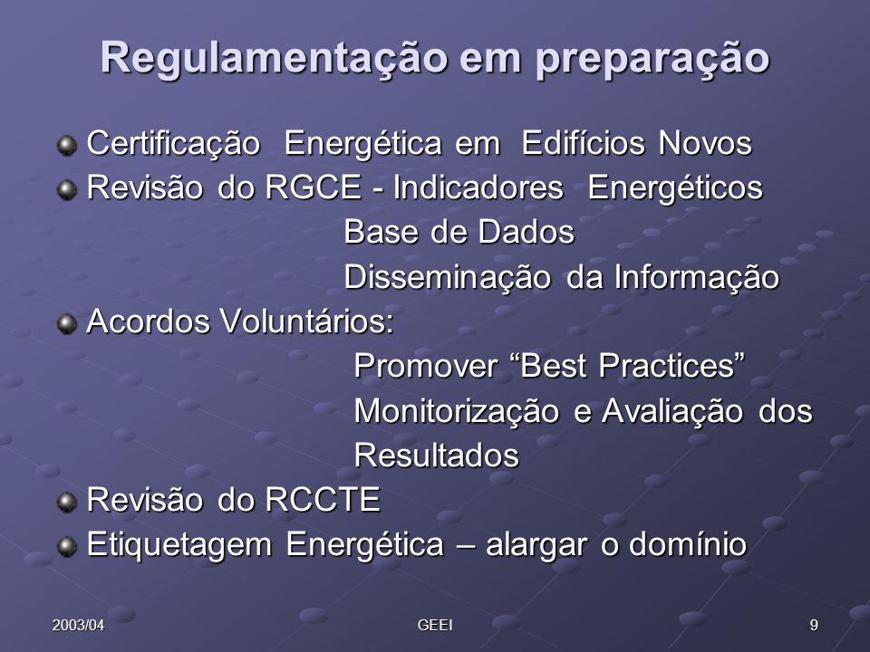 Regulamentação em preparação