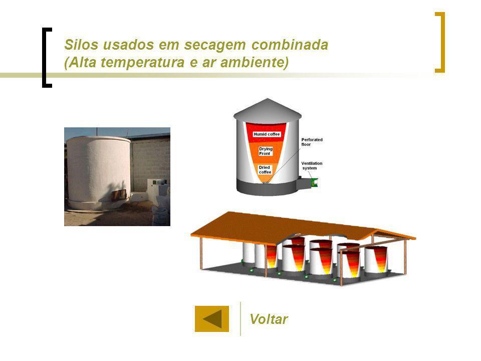 Silos usados em secagem combinada (Alta temperatura e ar ambiente)