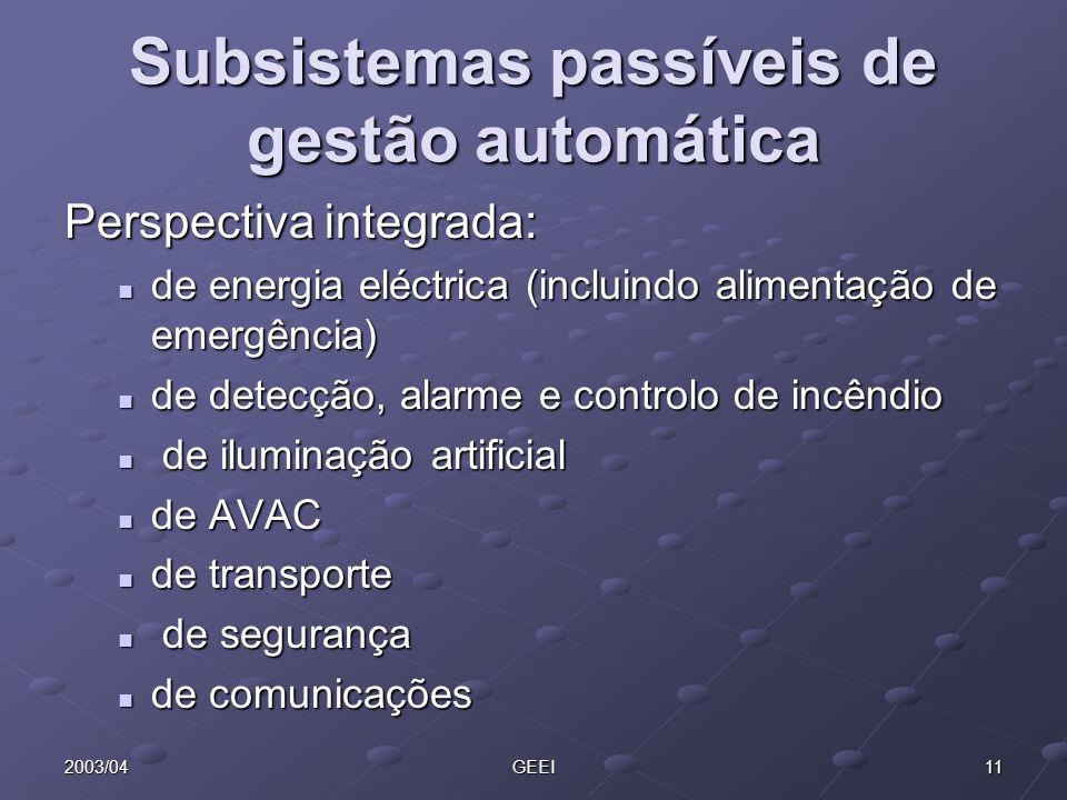 Subsistemas passíveis de gestão automática