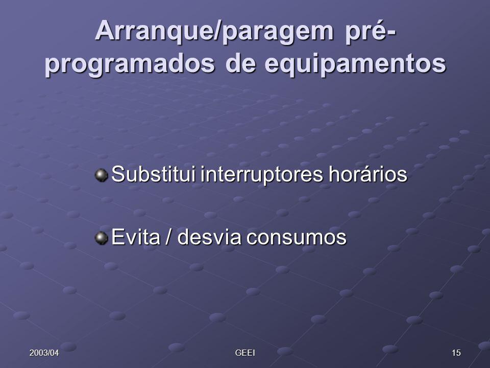 Arranque/paragem pré-programados de equipamentos