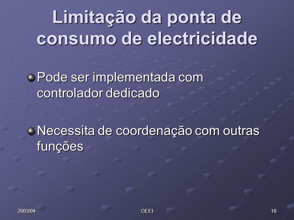 Limitação da ponta de consumo de electricidade