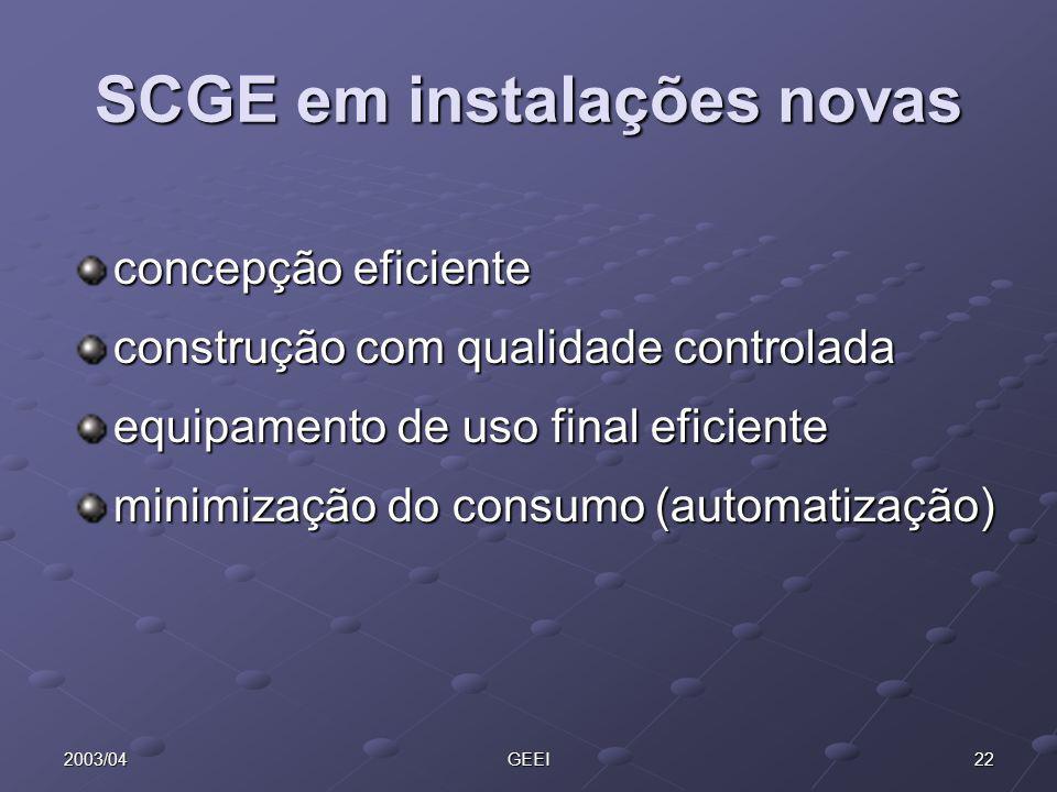 SCGE em instalações novas