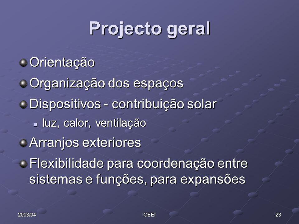 Projecto geral Orientação Organização dos espaços