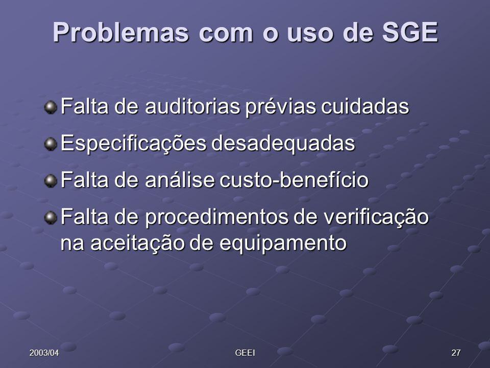 Problemas com o uso de SGE