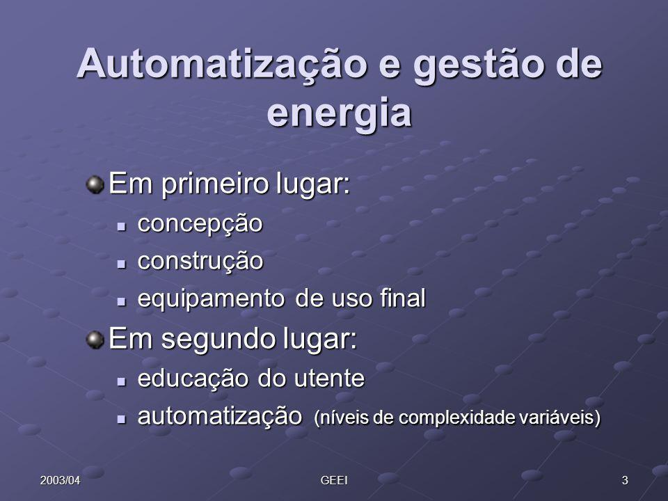Automatização e gestão de energia