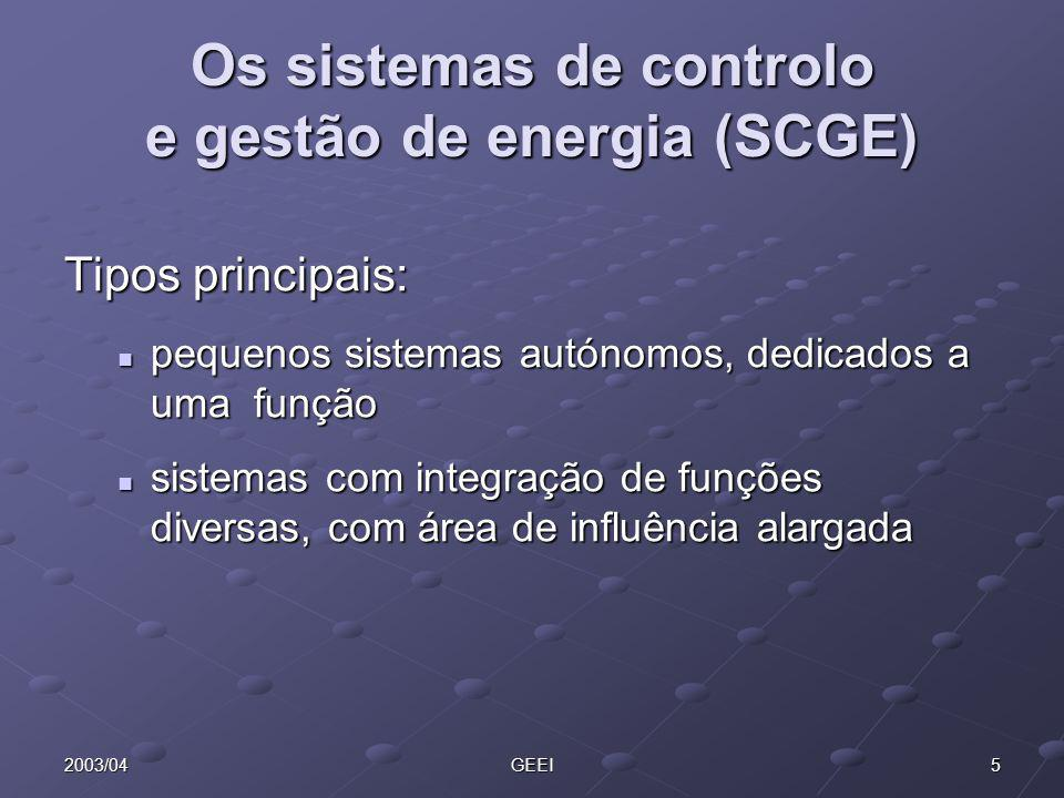 Os sistemas de controlo e gestão de energia (SCGE)