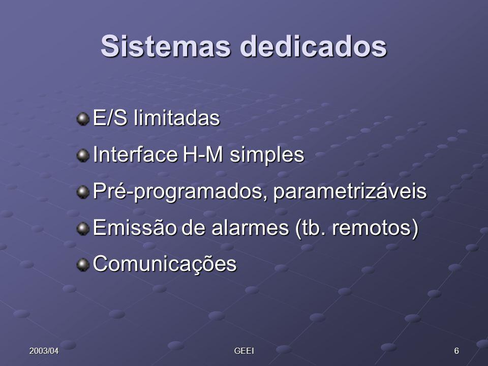 Sistemas dedicados E/S limitadas Interface H-M simples