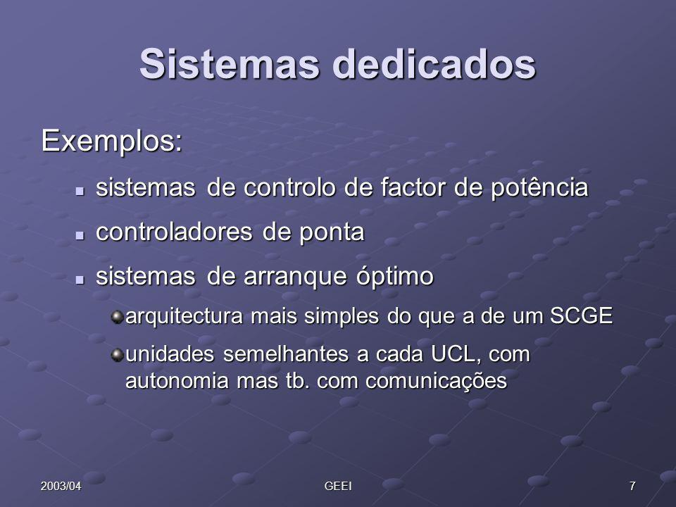Sistemas dedicados Exemplos: