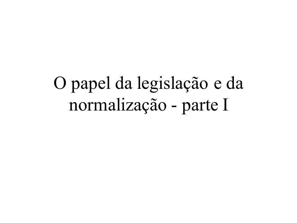 O papel da legislação e da normalização - parte I