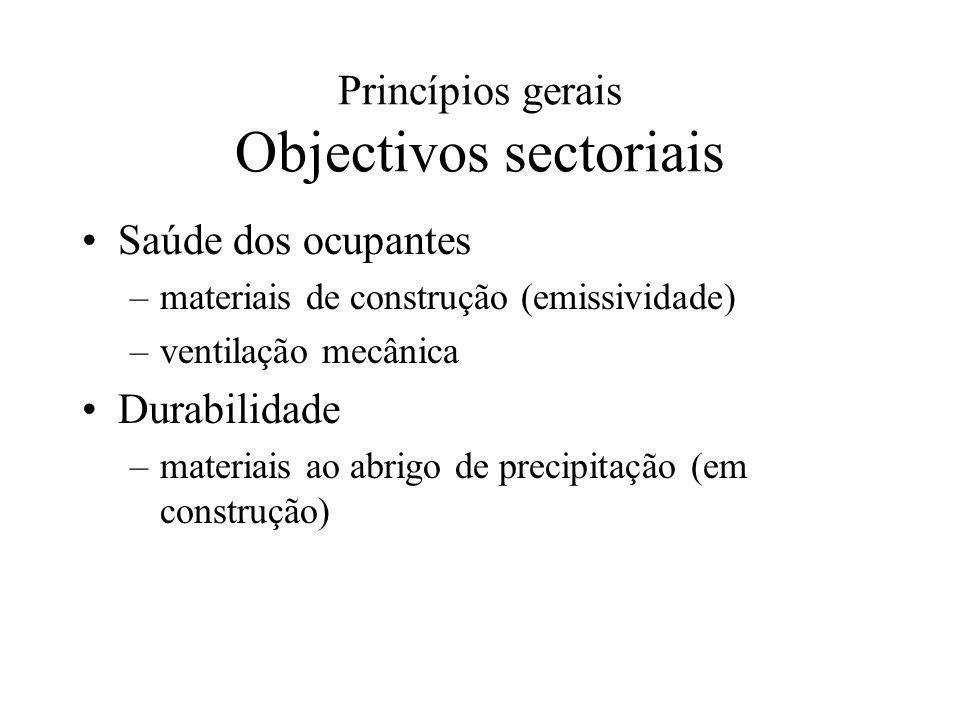 Princípios gerais Objectivos sectoriais