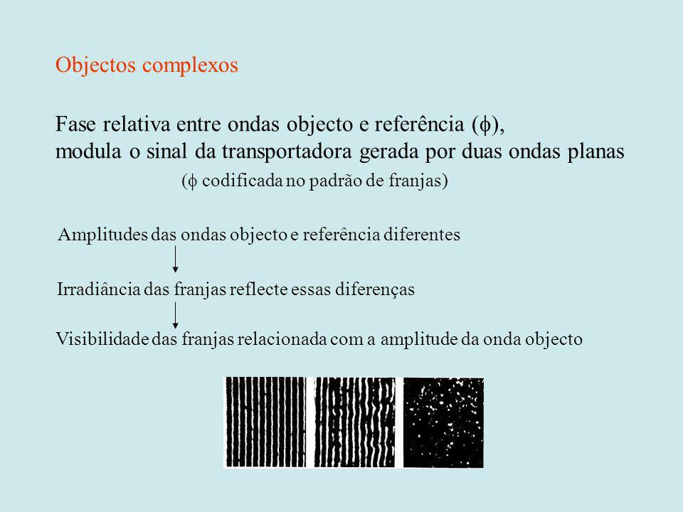 Fase relativa entre ondas objecto e referência (f),