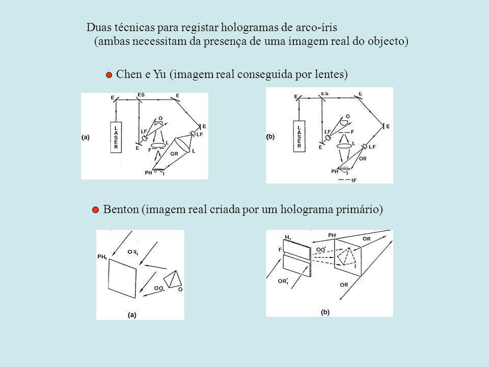 Duas técnicas para registar hologramas de arco-íris