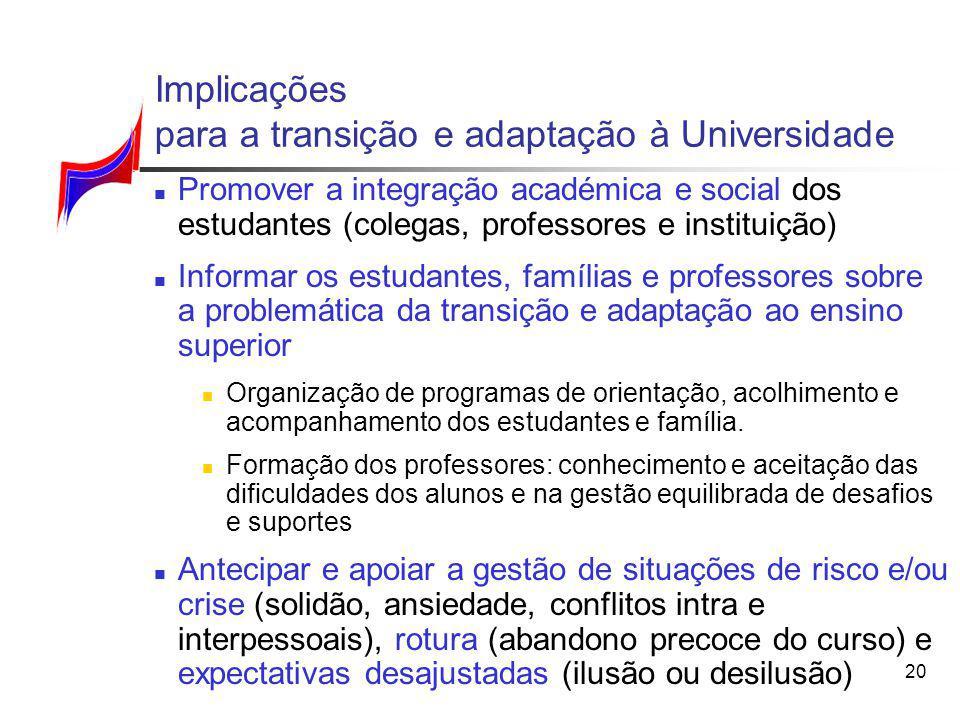 Implicações para a transição e adaptação à Universidade