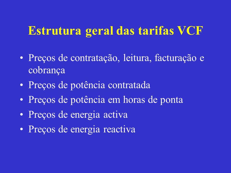 Estrutura geral das tarifas VCF