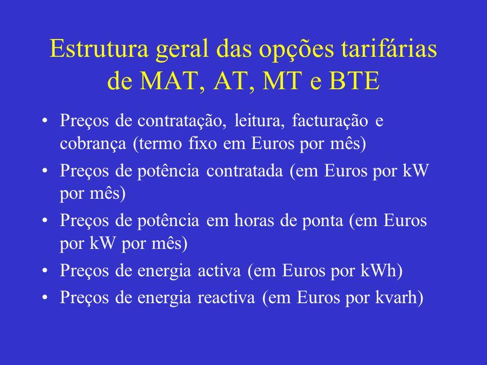 Estrutura geral das opções tarifárias de MAT, AT, MT e BTE