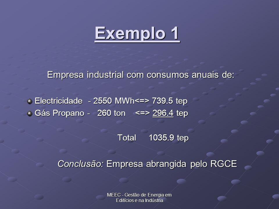 Exemplo 1 Empresa industrial com consumos anuais de: