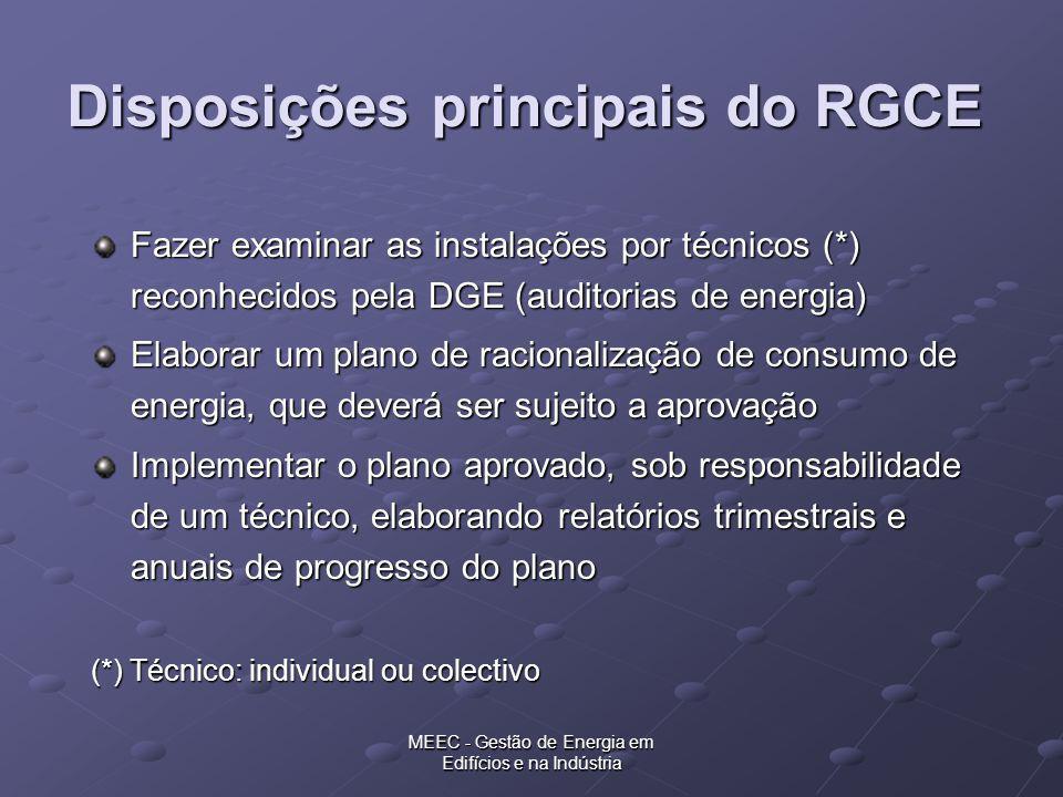 Disposições principais do RGCE