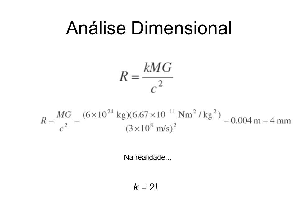 Análise Dimensional Na realidade... k = 2!