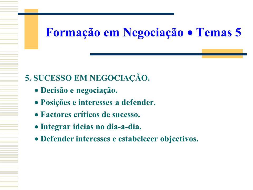 Formação em Negociação  Temas 5