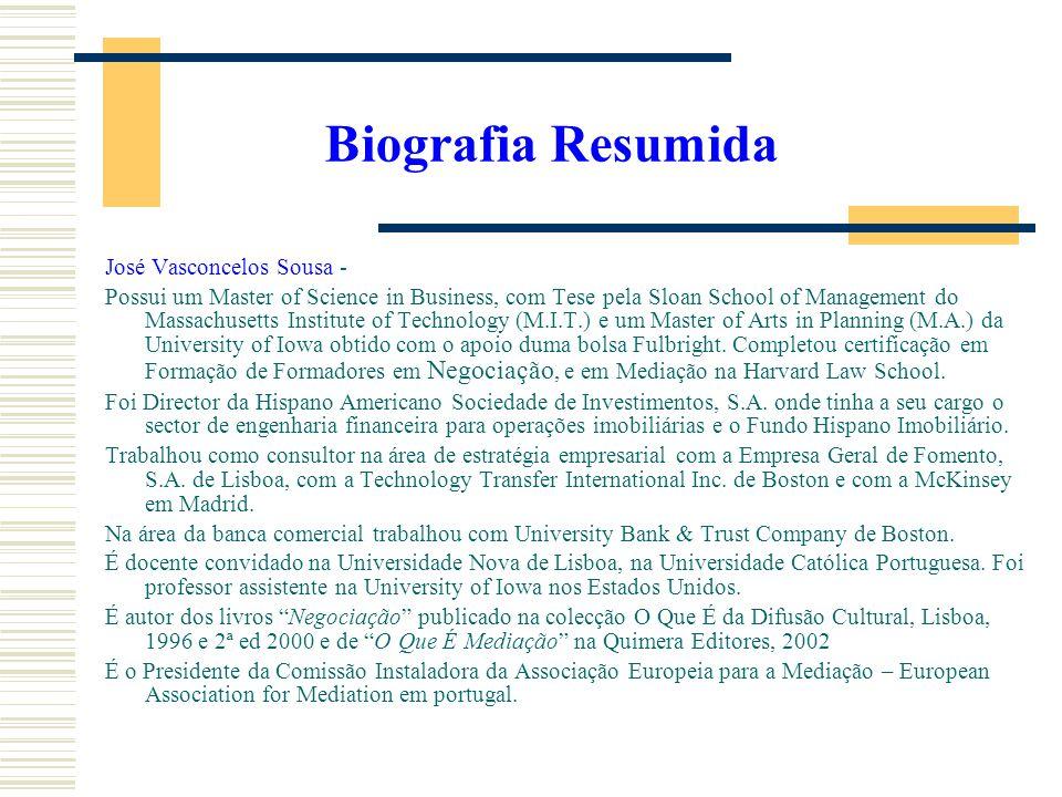 Biografia Resumida José Vasconcelos Sousa -