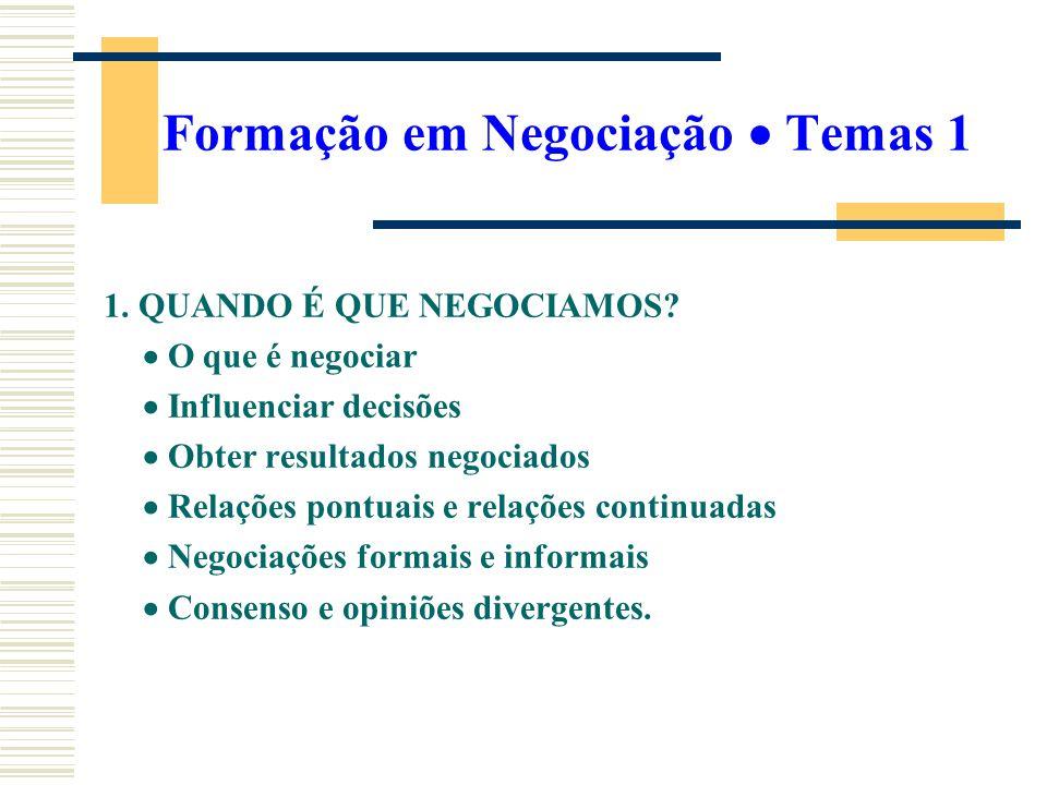 Formação em Negociação  Temas 1