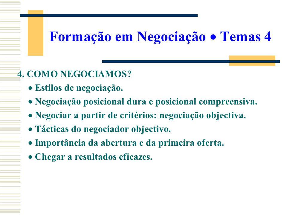 Formação em Negociação  Temas 4
