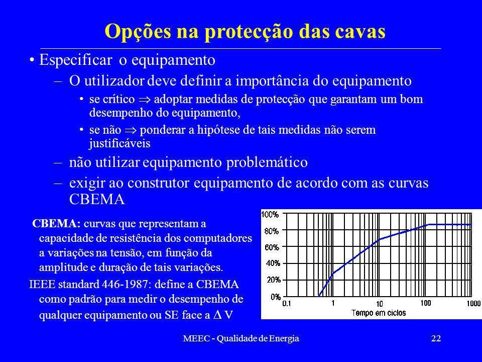 Opções na protecção das cavas