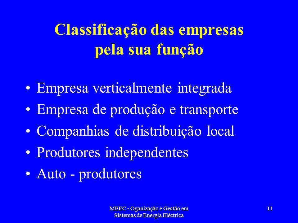 Classificação das empresas pela sua função