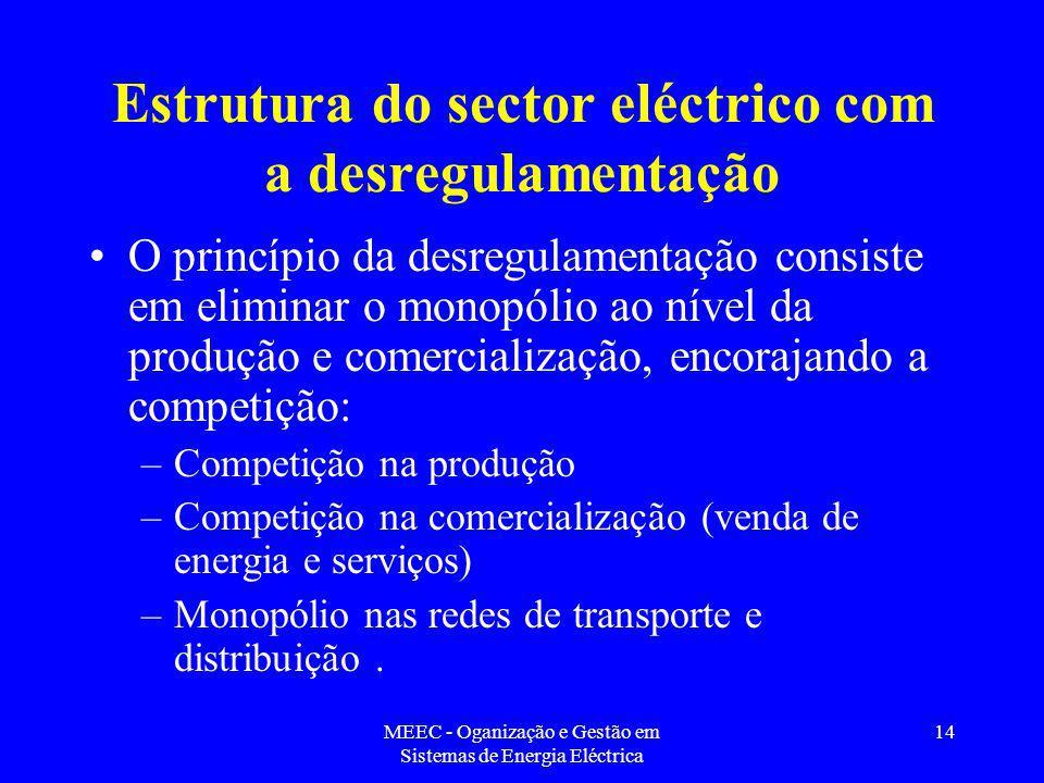 Estrutura do sector eléctrico com a desregulamentação