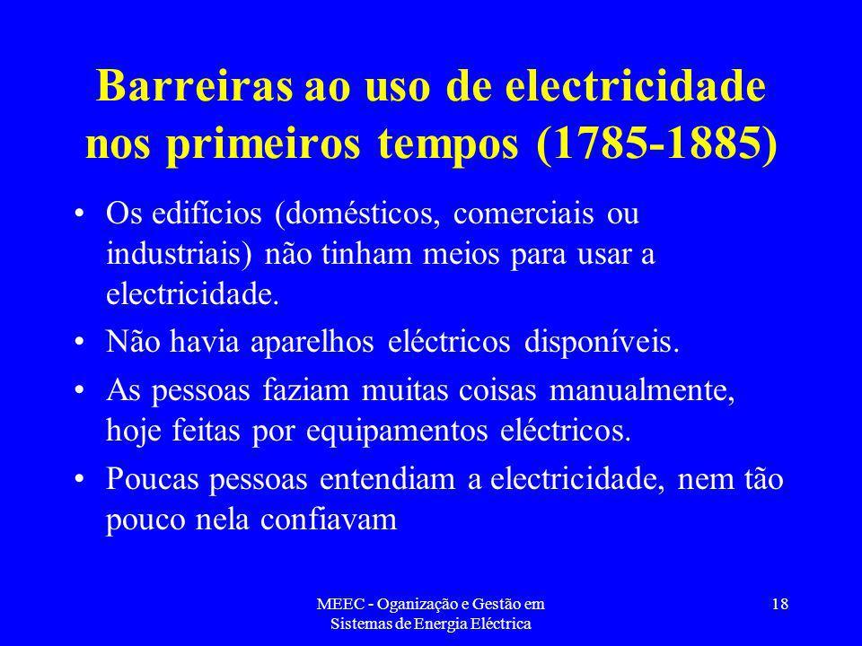 Barreiras ao uso de electricidade nos primeiros tempos (1785-1885)