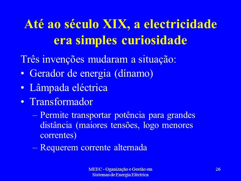 Até ao século XIX, a electricidade era simples curiosidade