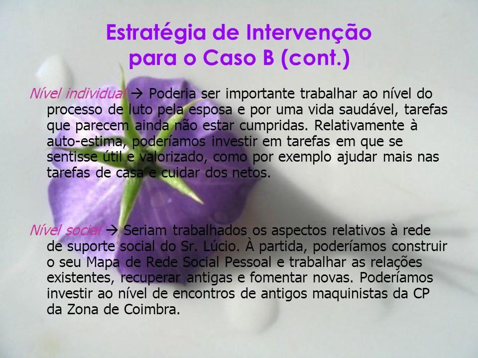Estratégia de Intervenção para o Caso B (cont.)