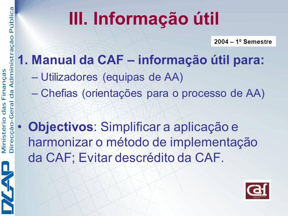 III. Informação útil 1. Manual da CAF – informação útil para: