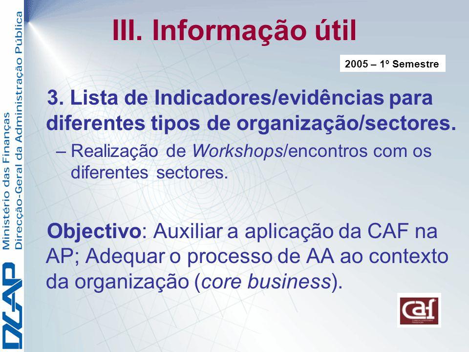 III. Informação útil 2005 – 1º Semestre. 3. Lista de Indicadores/evidências para diferentes tipos de organização/sectores.