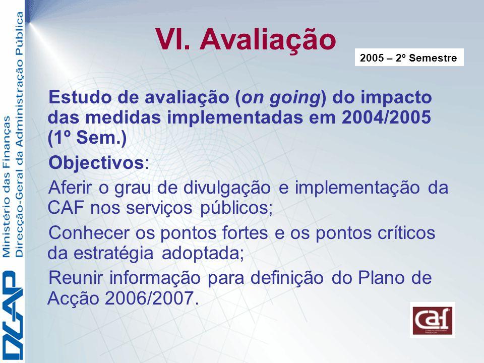VI. Avaliação 2005 – 2º Semestre. Estudo de avaliação (on going) do impacto das medidas implementadas em 2004/2005 (1º Sem.)