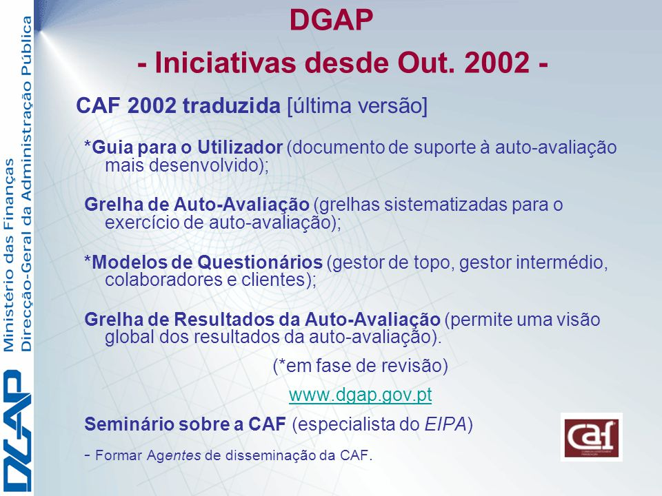 DGAP - Iniciativas desde Out. 2002 -