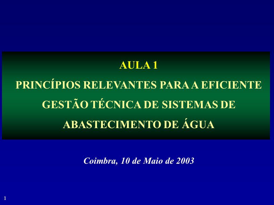 AULA 1 PRINCÍPIOS RELEVANTES PARA A EFICIENTE GESTÃO TÉCNICA DE SISTEMAS DE ABASTECIMENTO DE ÁGUA.
