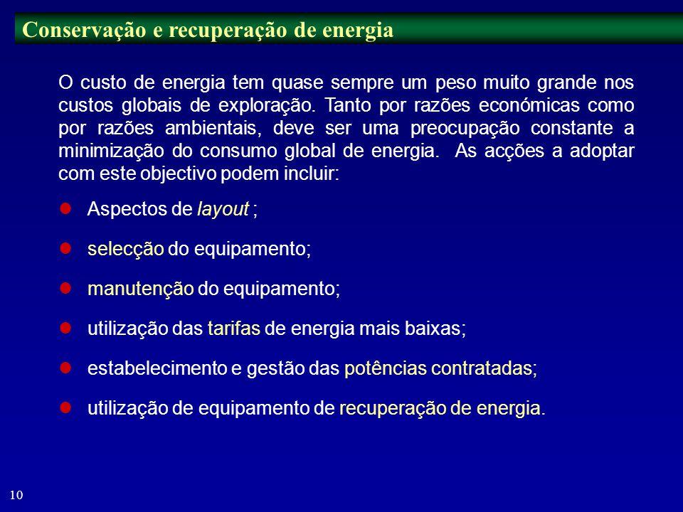 Conservação e recuperação de energia