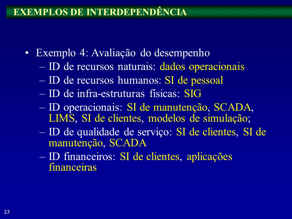 EXEMPLOS DE INTERDEPENDÊNCIA